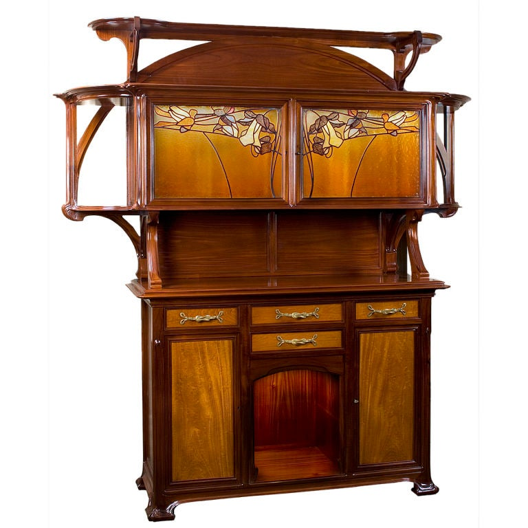 french art nouveau wood and glass buffet by bec at 1stdibs. Black Bedroom Furniture Sets. Home Design Ideas