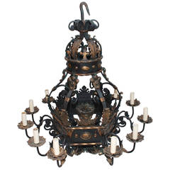 Very Large and Rare French 1930 Wrought Iron Chandelier