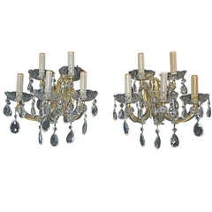 Antique Pair of 1940  Glass Sconces  Mary Antoinette Style