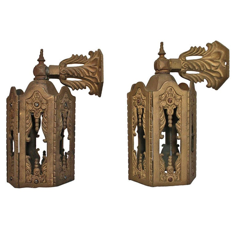 Iron Outdoor Wall Sconces : Antique Pair Of Cast Iron Outdoor Sconces at 1stdibs