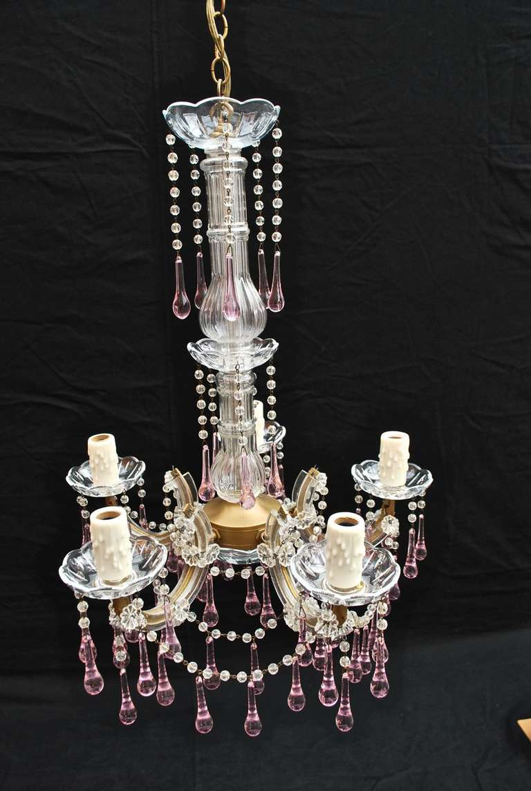 1940 Small crystal and pink Chandelier at 1stdibs
