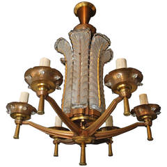 French Art Deco Bronze Chandelier, Signed Ezan