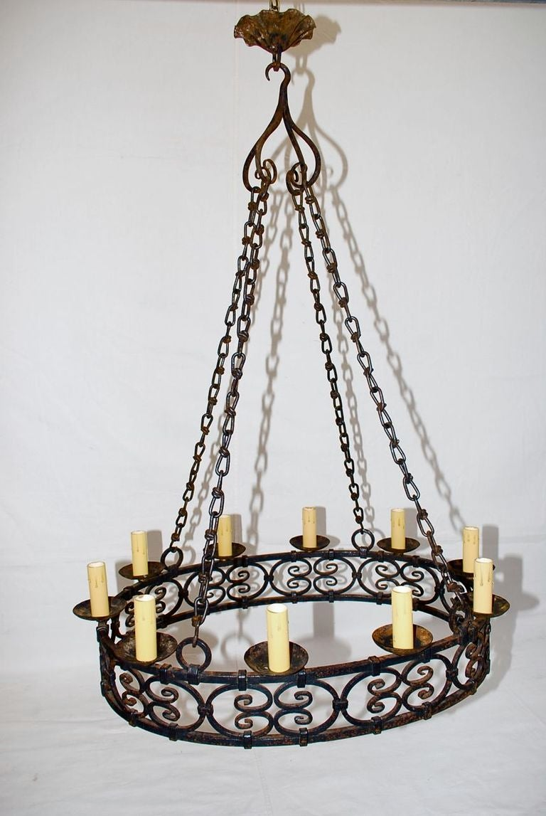 A very nice and impressive 1920 wrought iron chandelier, it is all hand  made, - Antique French Wrought Iron Chandelier At 1stdibs