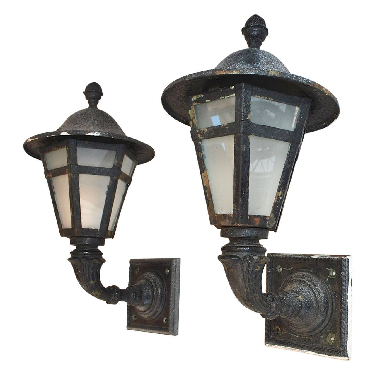 Large Pair Of 1920 Cast Iron And Metal Outdoor Sconces For Sale At