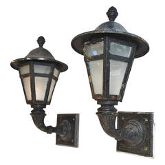 Large Pair of 1920 Cast Iron and Metal Outdoor Sconces