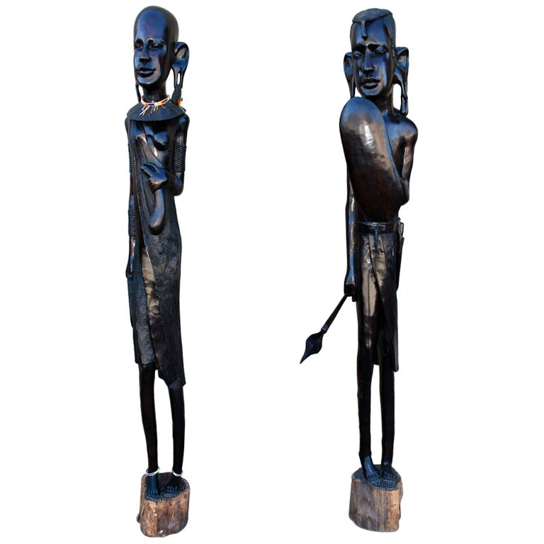 Pair Of Impressive Seven Feet African Ebony Wood Statue