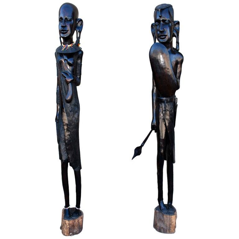 Pair Of Impressive Seven Feet African Ebony Wood Statue