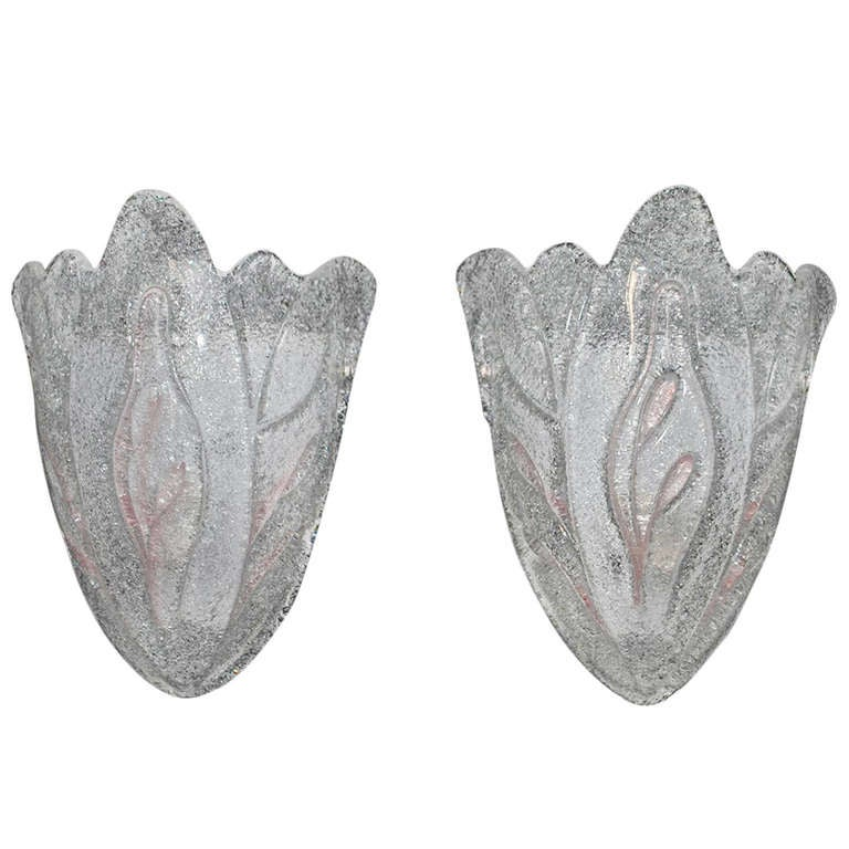 Wall Sconces Hand Blown Glass : antique pair of hand blown Murano glass sconces For Sale at 1stdibs