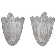 antique pair of hand blown Murano glass sconces