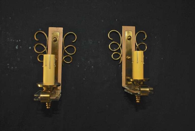 Mid-Century Modern Elegant pair of  Sconces by Jules Leleu For Sale