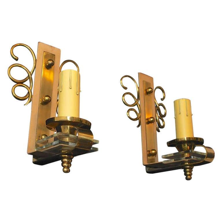 Elegant pair of  Sconces by Jules Leleu