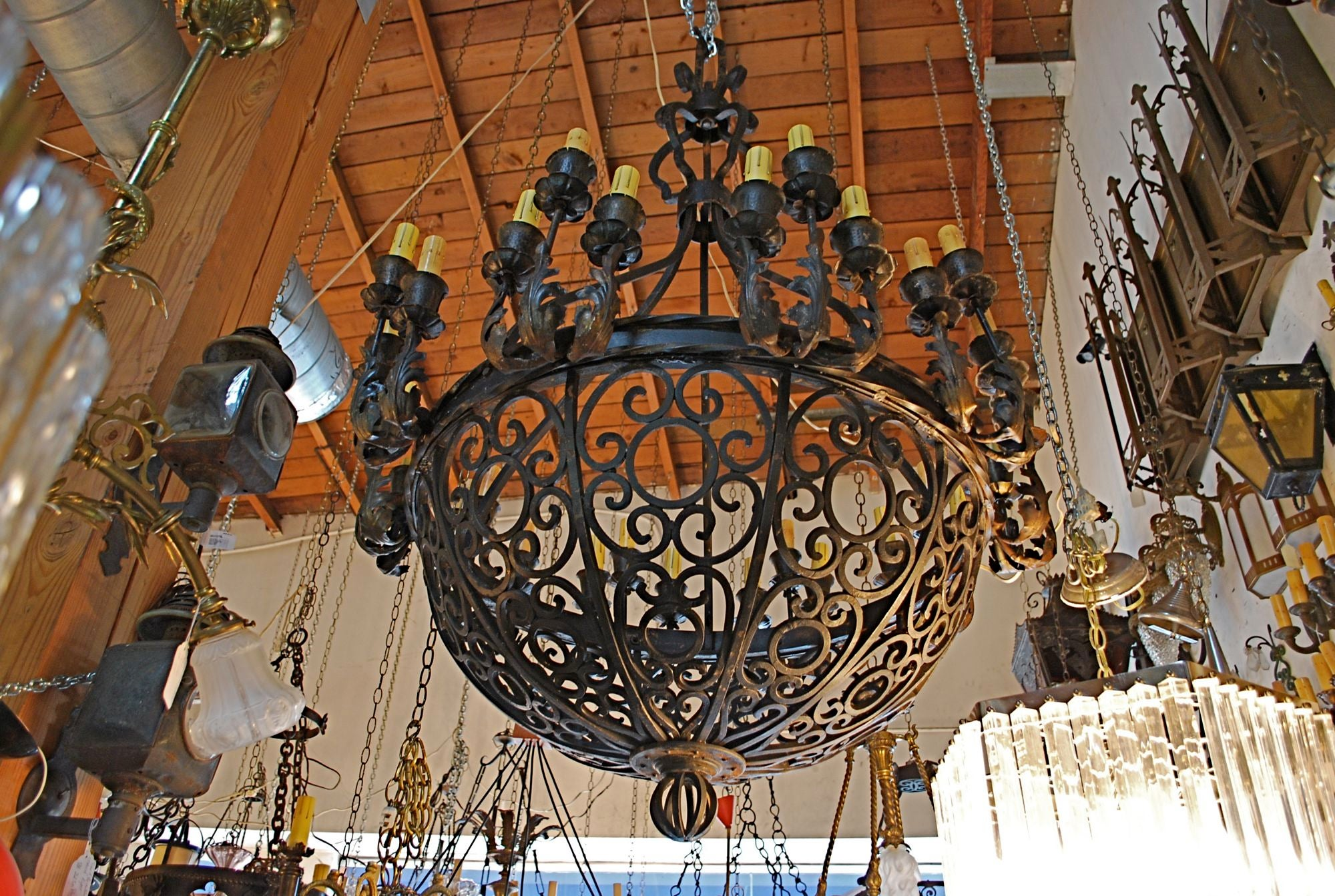 Exceptional and very rare imposing 1920 wrought iron chandelier at exceptional and very rare imposing 1920 wrought iron chandelier at 1stdibs aloadofball Choice Image
