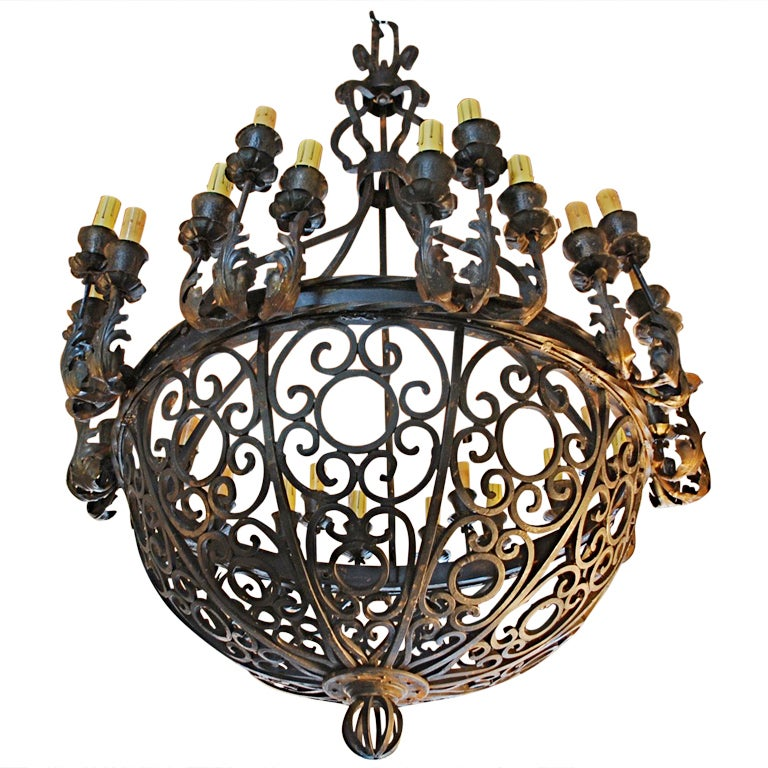 Humongous 1920 Wrought Iron Chandelier At 1stdibs