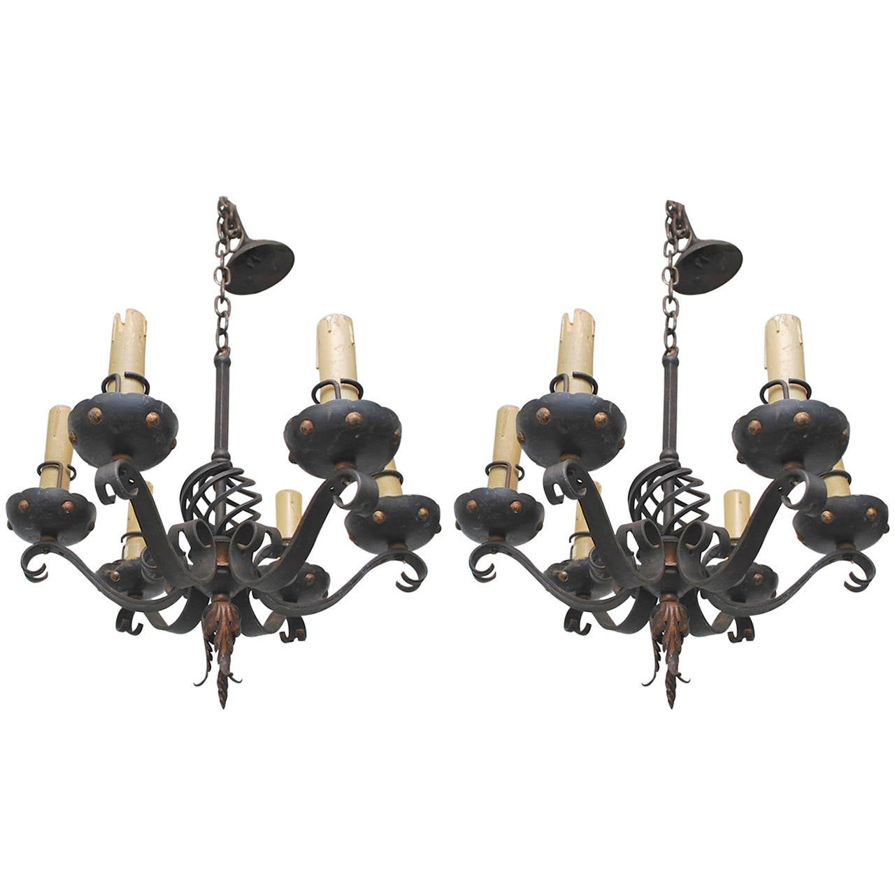 Pair of 1930 french small wrought iron chandeliers for sale at 1stdibs pair of 1930 french small wrought iron chandeliers for sale aloadofball Images