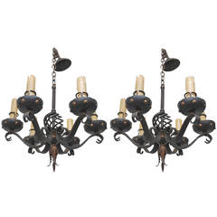 Pair of 1930 French Small Wrought Iron Chandeliers