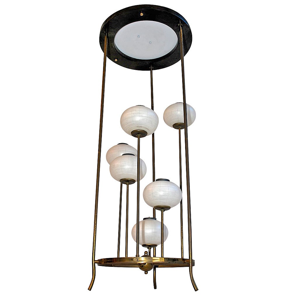 Rare Mid-Century hanging Light with Asian Feeling