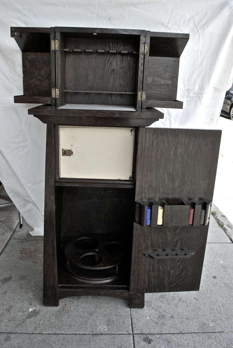 Rare Arts And Crafts Bar With Original Poker Chips For