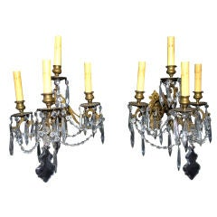 Antique French 19 th century bronze and crystal  sconces