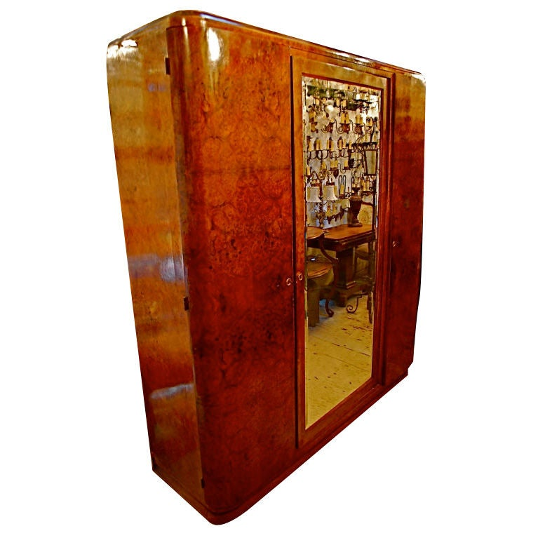 large antique french art deco armoire at 1stdibs. Black Bedroom Furniture Sets. Home Design Ideas