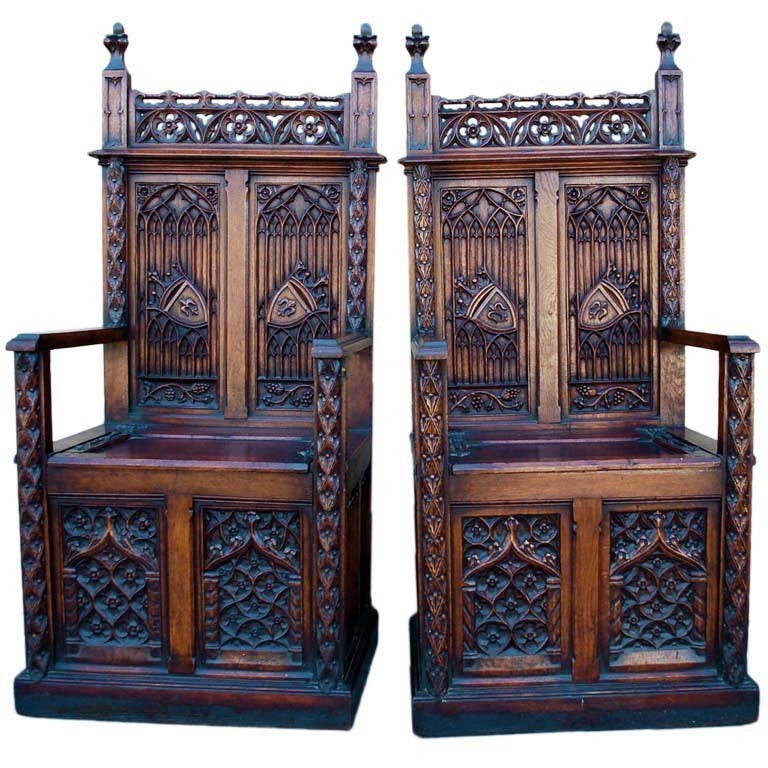 Pair of late 19 th Century gothic chairs/ throne from Belgium For Sale - Pair Of Late 19 Th Century Gothic Chairs/ Throne From Belgium At