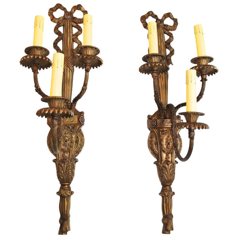 Large Bronze Wall Sconces : Large Antique Pair of French Bronze Sconces at 1stdibs
