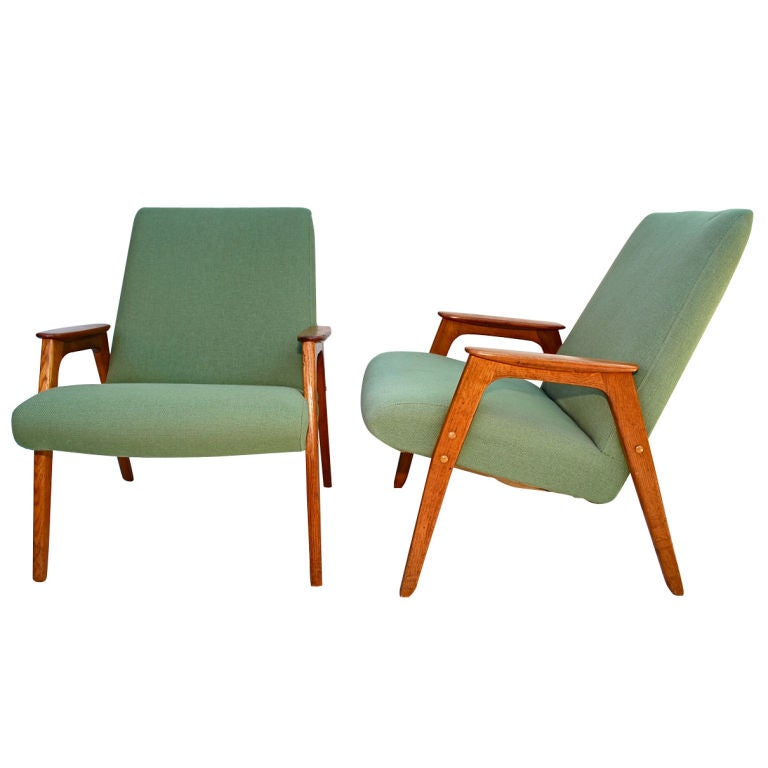 Pair of 1950 Dutch Lounge Chairs For Sale at 1stdibs