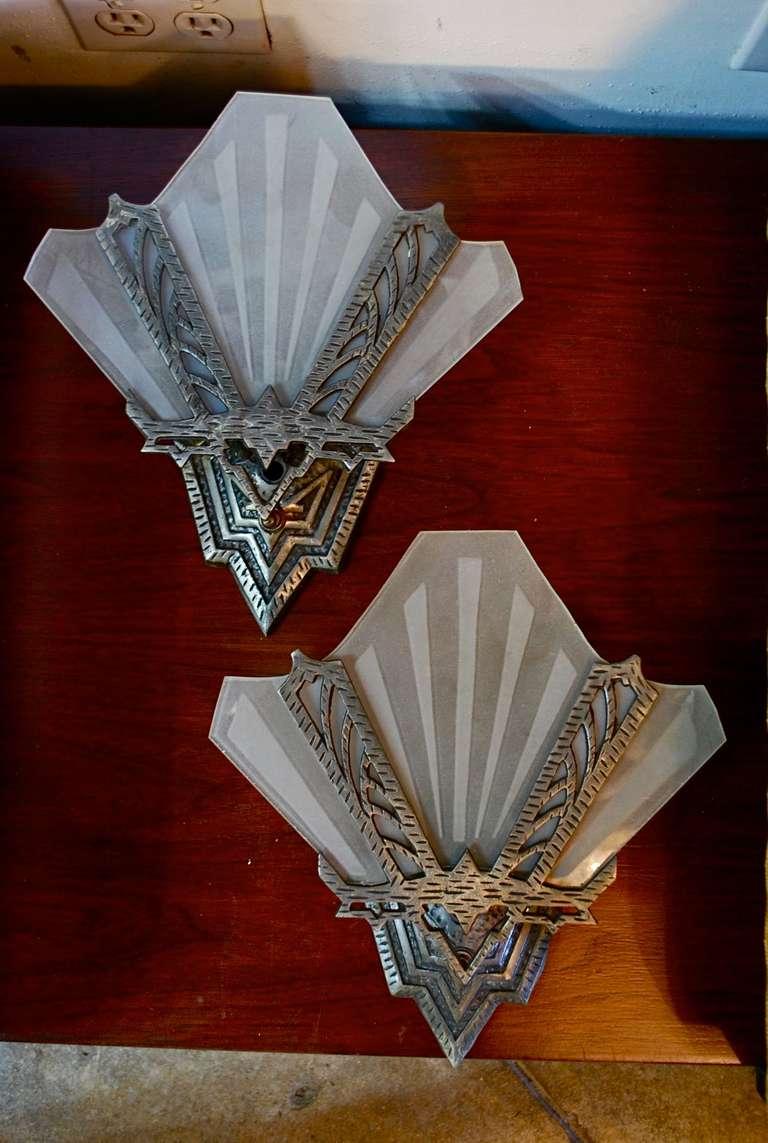 Antique Wall Sconces Art Deco : Antique Set Of Four Art Deco Sconces at 1stdibs