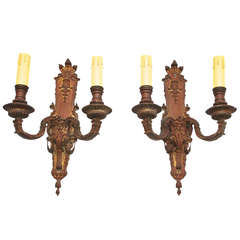 Antique Large Pair of French 19th Century Bronze Sconces