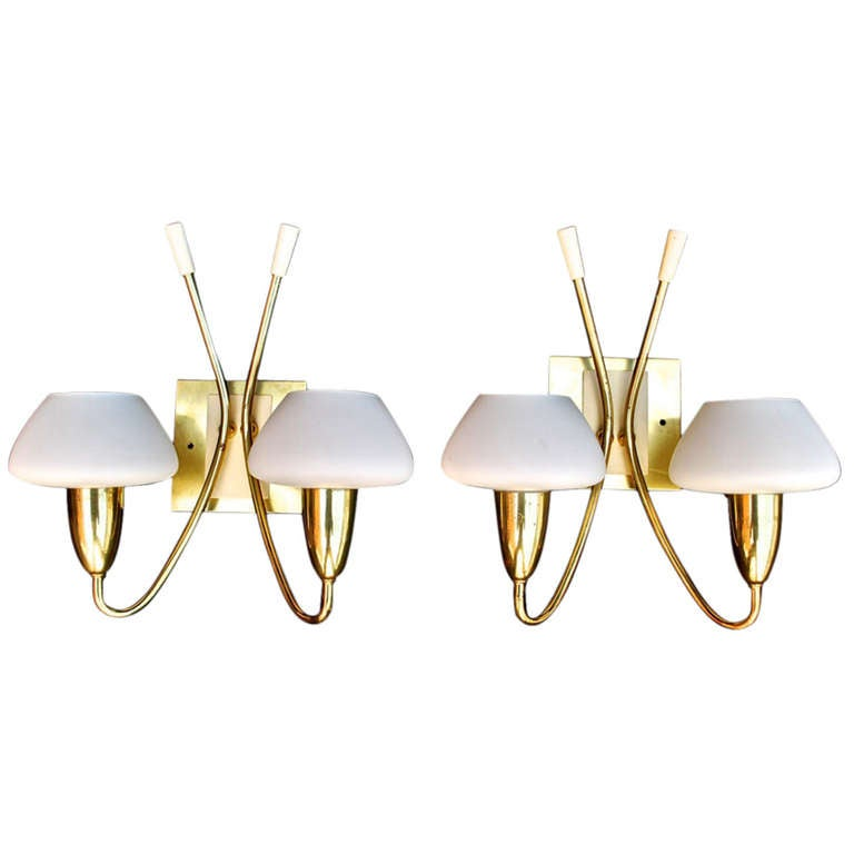 Antique Pair of French Mid Century Sconces