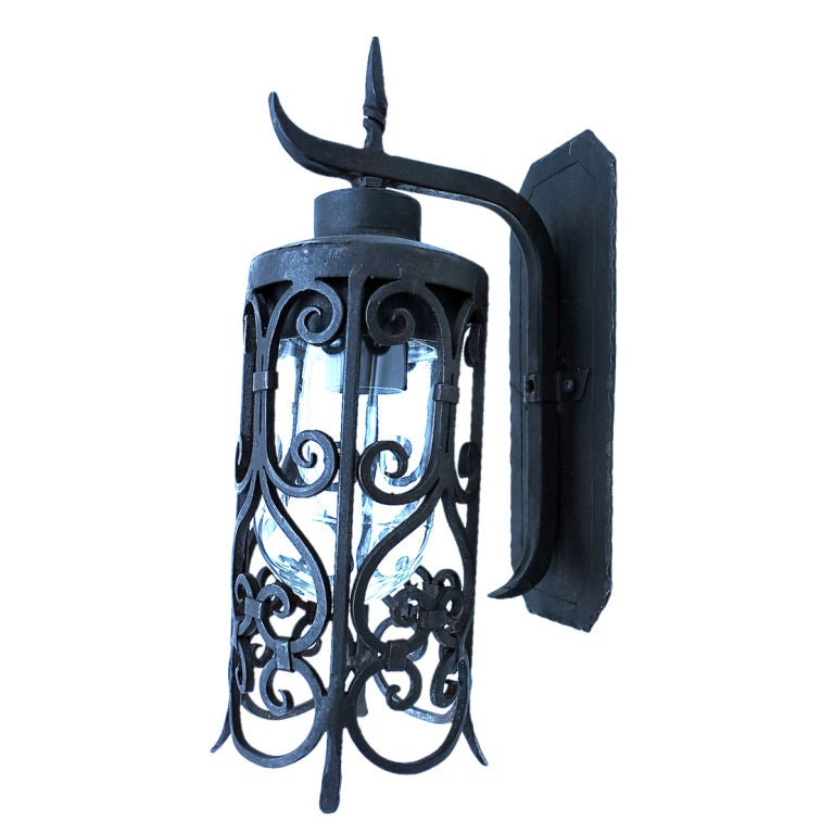 Metal Outdoor Wall Sconces : Wrought Iron Reproduction Outdoor Sconces at 1stdibs