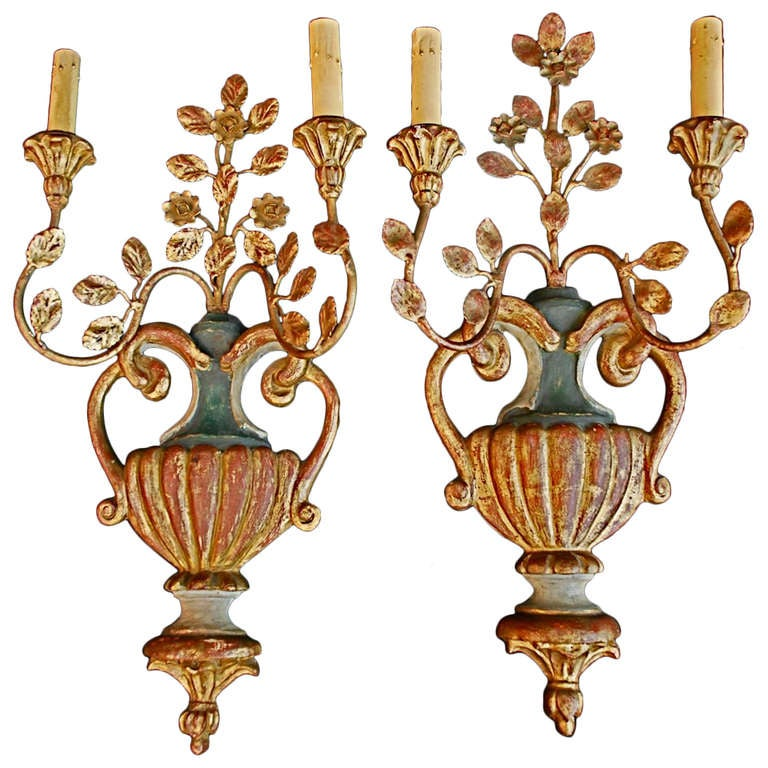 Antique Wood Wall Sconces : Antique Pair Of Italian Wood/iron Sconces By Palladio at 1stdibs