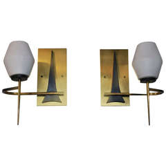 Pair of French Mid Century  Sconces with Eiffel Tower Design