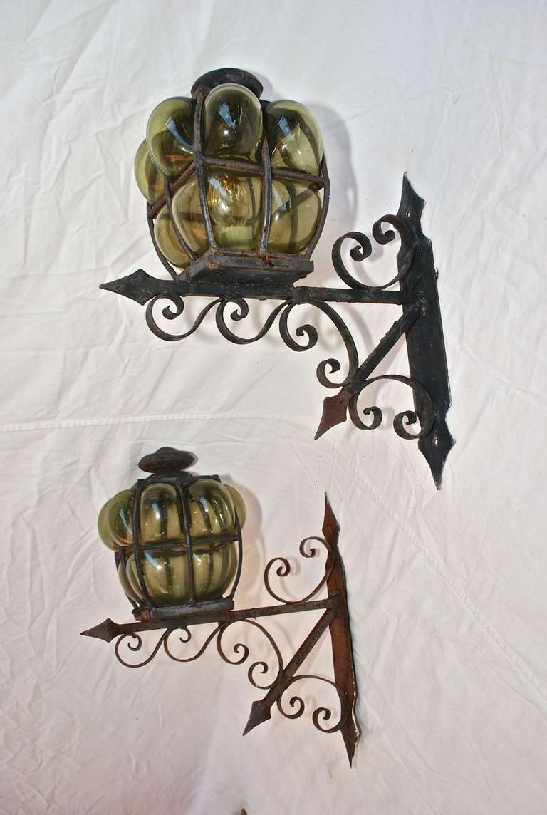 Wall Sconces Hand Blown Glass : Large Pair of Hand Blown Glass Outdoor Sconces For Sale at 1stdibs