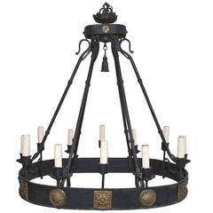 Large 1920 Wrought Iron Chandelier