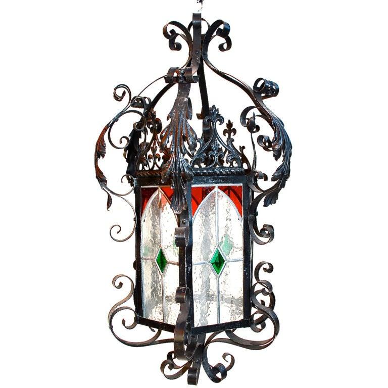 French antique  Wrought Iron Lantern