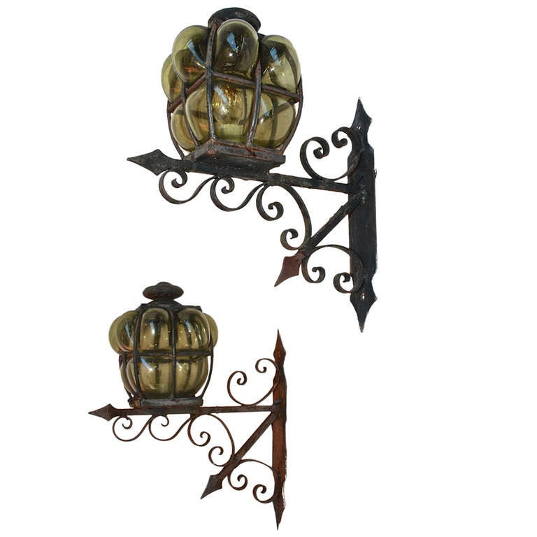 Large Pair of Hand Blown Glass Outdoor Sconces For Sale at 1stdibs