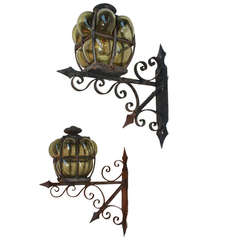Large Pair of Hand Blown Glass Outdoor Sconces