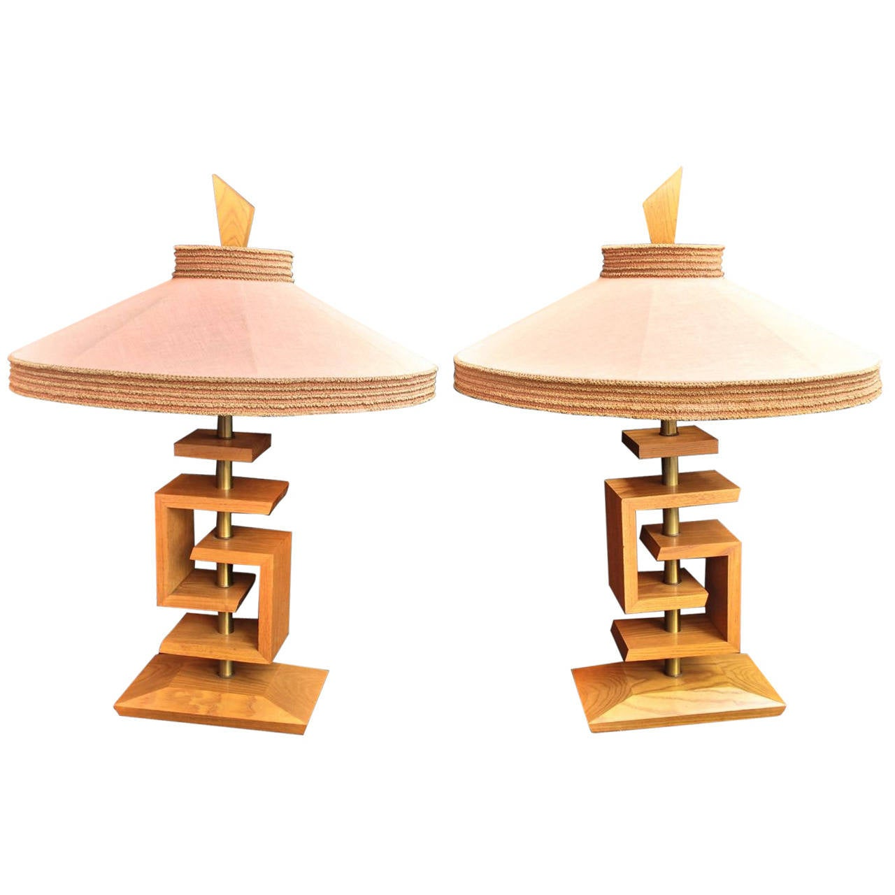 Beautiful Pair of Table Lamps by James Mont with Original Shade