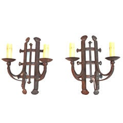 Pair of Antique French 1920 wrought iron sconces