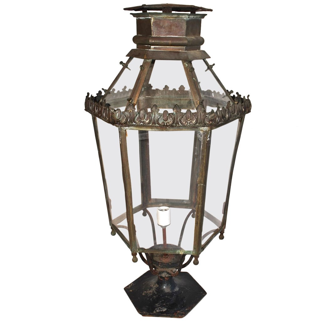Fancy Outdoor Post Lights: Large Outdoor 1920 Brass Post Lantern For Sale At 1stdibs