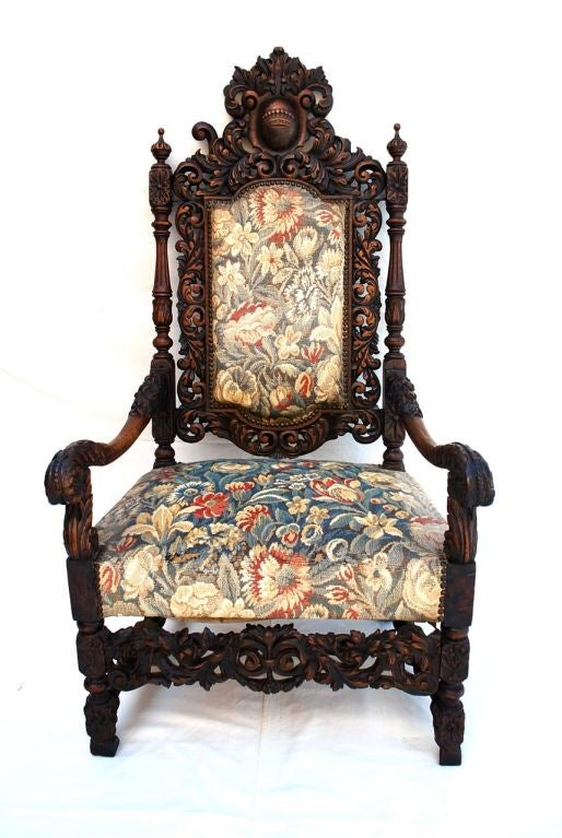 A beautiful French 19 TH century Throne chair , the patina is much nicer in  person - Antique French 19 Th Century Throne Chair For Sale At 1stdibs