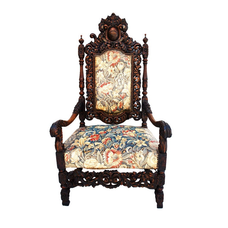 Antique French 19 th century throne chair For Sale - Antique French 19 Th Century Throne Chair For Sale At 1stdibs
