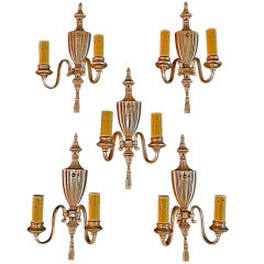 Antique Set Of Five Silver Plated Sconces