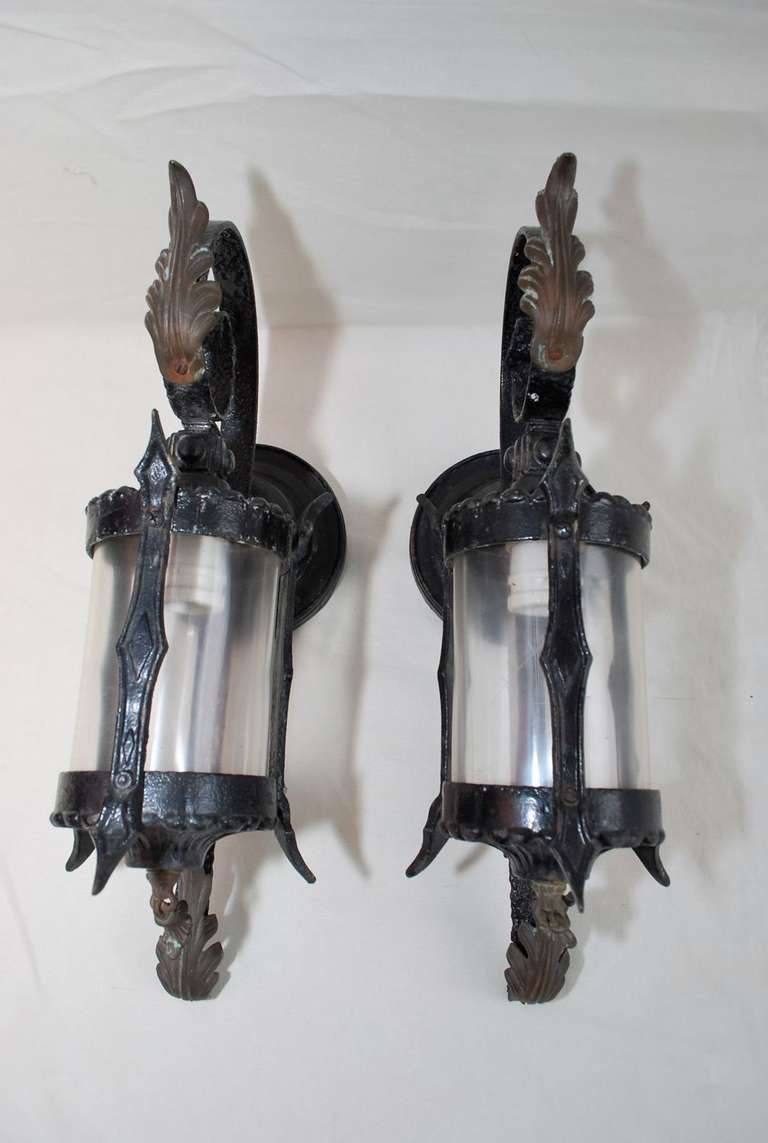 Metal Outdoor Wall Sconces : Antique Pair Of Wrought Iron Outdoor Sconces at 1stdibs