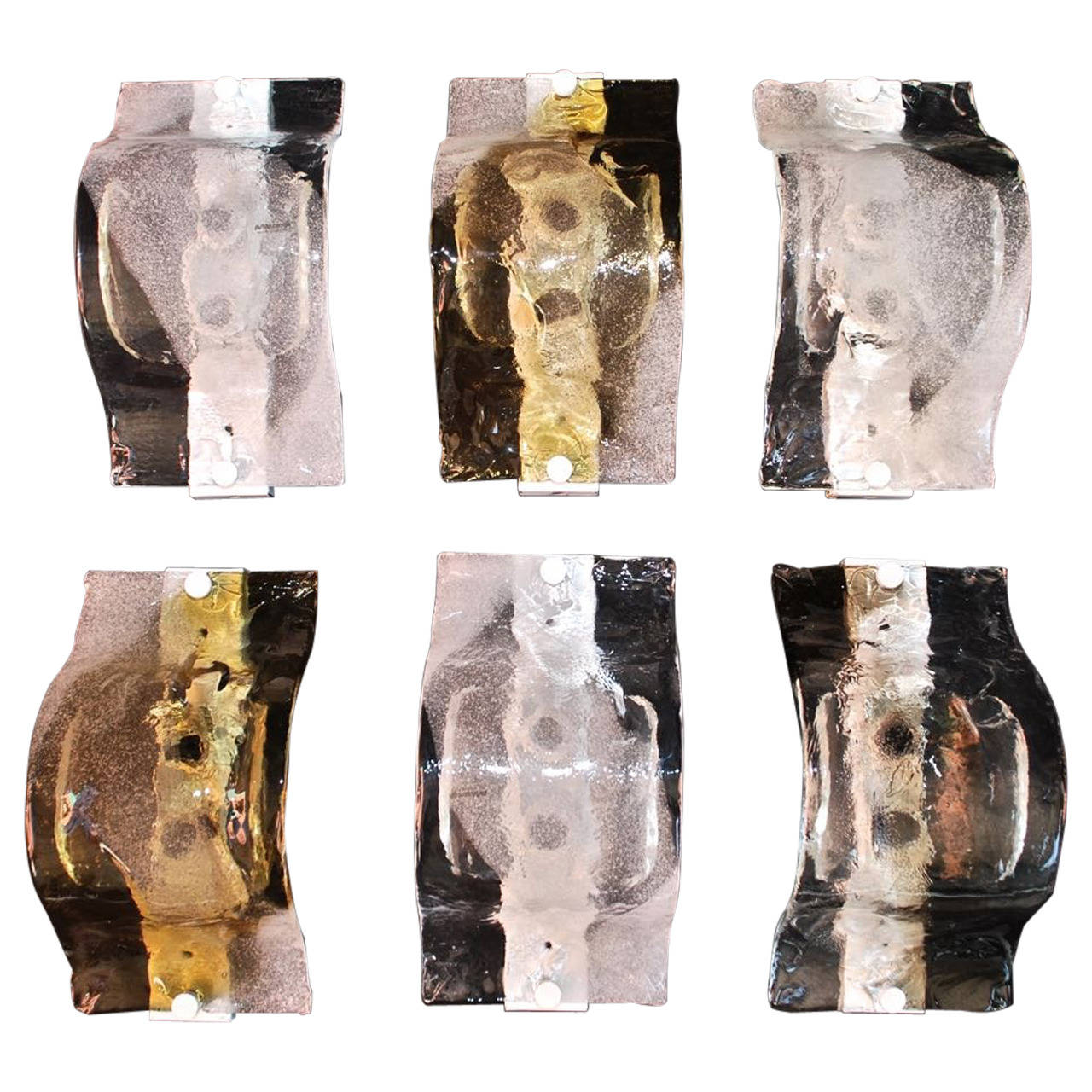 Beautiful Set of 1970 Six  Murano Glass Sconces by Mazzega ( 4 are sold )