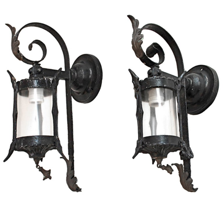 Antique Outdoor Wall Sconces : Antique Pair Of Wrought Iron Outdoor Sconces at 1stdibs