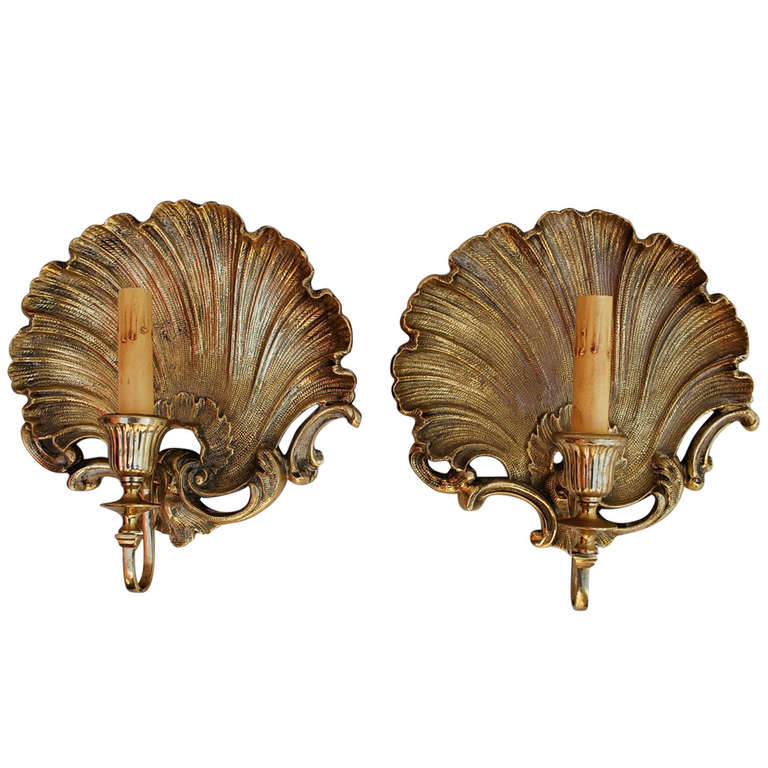 Solid Brass Wall Sconces : Beautiful and Solid Brass Shell Sconces at 1stdibs