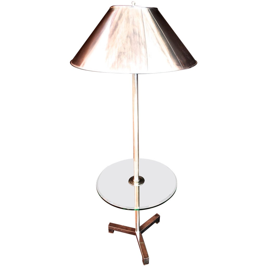 Beautiful floor lamp with metal shade for sale at 1stdibs for Vintage floor lamp with metal shade