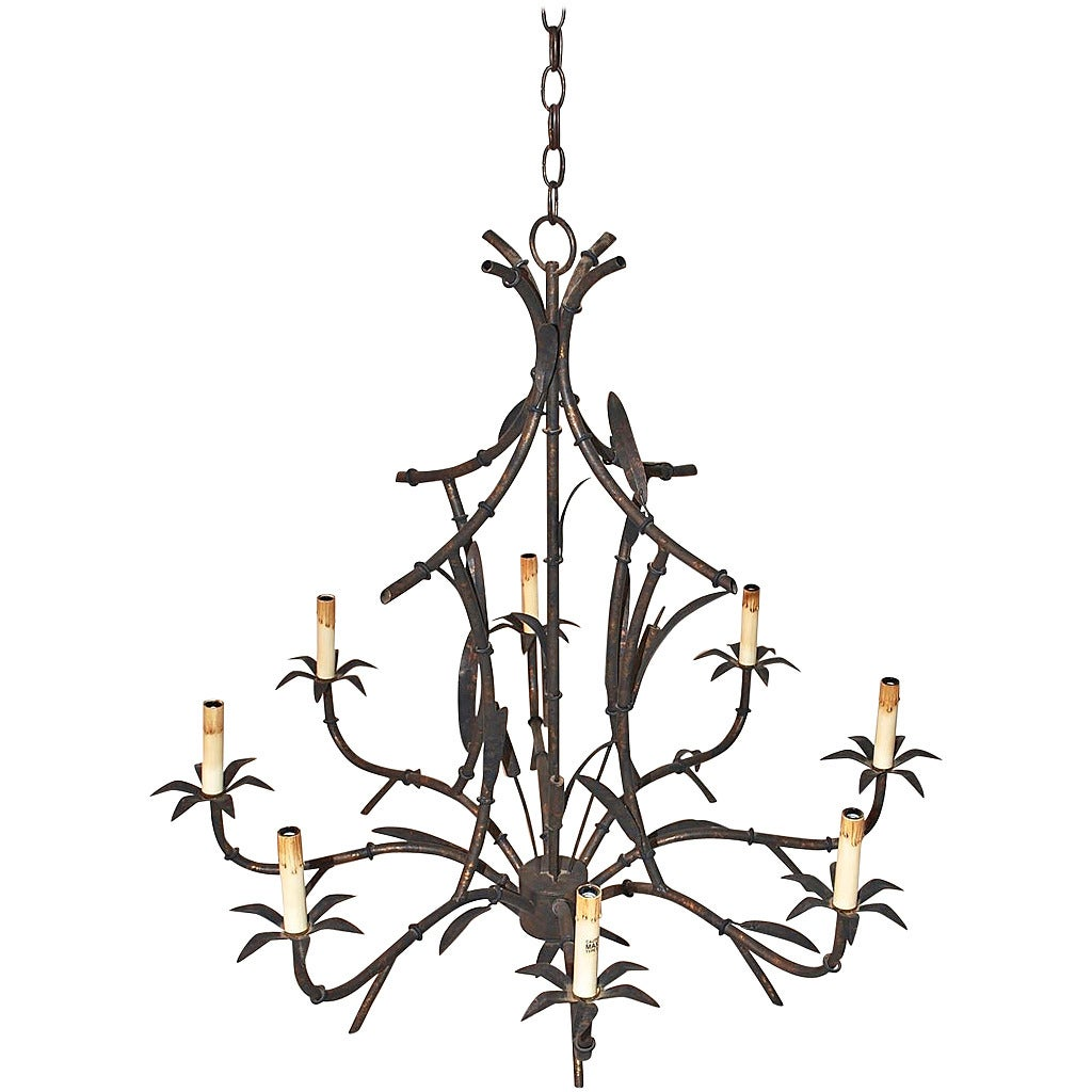 Large Faux Bamboo Tole Chandelier For Sale