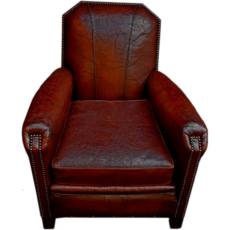 Antique Art Deco Leather Club Chair At 1stdibs